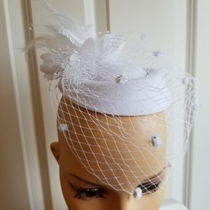 White Bridal Fascinator,  White Fascinator and Hat